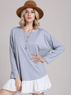 Fabric :Fabric is very stretchy Season :Fall Type :Tunic Pattern Type :Plain Sleeve Length :Three Quarter Length Sleeve Color :Grey Dresses Length :Short Style :Casual Material :Polyester Neckline :Ro