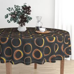 Solar Eclipse: MCM_Gold and Black on Malay by mia_valdez | Roostery Home Decor #tablecloth #midcenturymodern #roostery #eclipse #gold #black #mia