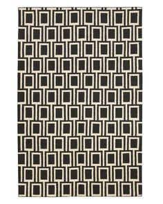 Frame Ink rug by DwellStudio; dwellstudio.com. Trend Alert: Josef Hoffmann The grids and graphic patterns of this Wiener Werkstätte master are inspiring bold new takes on fashions and furnishings   Read more: Josef Hoffmann Graphic Patterns - Grid Pattern Accessories - ELLE DECOR   @Tina Doshi Doshi Olsson/FYLLAYTA + Optical Day