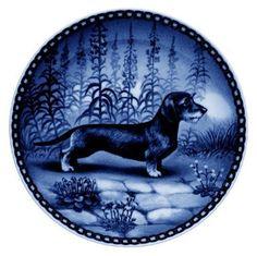 Danish Blue porcelain dog plate
