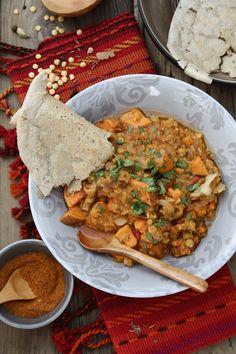 Ethiopian Sweet Potato & Lentil Wat with Injera Flatbreads