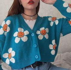 Smiley Sun Flower Blue Knit Sweater Cardigan Source by yeetmyselfoff outfits Aesthetic Fashion, Aesthetic Clothes, Look Fashion, Korean Fashion, Aesthetic Girl, Aesthetic Sweaters, Flower Aesthetic, Aesthetic Grunge, Aesthetic Vintage