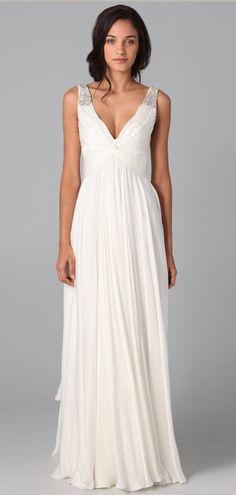 A-line Elegant Long Beaded Empire Ruching V-neck Simple Wedding Dress Like & Repin. Noelito Flow. Noel Music.