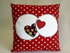 Intersecting plain hearts w names embroidered or appliqued Cute Pillows, Diy Pillows, Decorative Pillows, Throw Pillows, Applique Cushions, Sewing Pillows, Pin Cushions, Cushion Covers, Pillow Covers