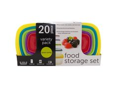 "20-Piece Variety Pack Food Storage Containers Set, 3 - Seal in freshness with this space-saving 20-piece Variety Pack Food Storage Containers Set. Pack snacks, fruit, lunches and much more in these colorful nesting containers. Includes: (2) 8-cup containers, (2) 4-cup containers, (2) 2-cup containers, (2) 1-1/3-cup containers and (2) 1-cup containers. Microwave, freezer and dishwasher safe. Comes packaged in a hanging box. Package measures approximately 14"" x 7.25"" x 3.5"".-Colors…"