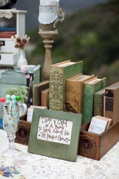 What a nice touch to a library themed wedding