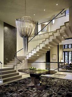 Contemporary Home Interior Staircase/Chandelier