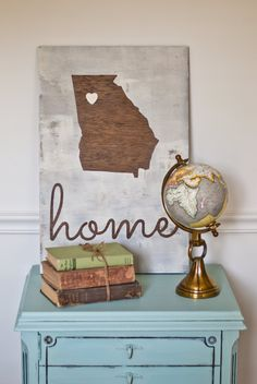 State Love LARGE Rustic Any State Wood Sign- Great Housewarming, Wedding or Engagement Gift Wooden Diy, Wooden Signs, Diy Christmas Room, Pallet Creations, Pallet Art, Diy Signs, The Ranch, Dorm Decorations, Home Projects