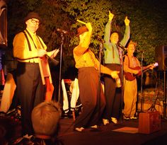 The Perfect Gentlemen at the Yosemite Courtyard Cabaret, August 10, 2012. They're feeling a little goofy while doing a tribute to washboard-style bluegrass. More cowbell!