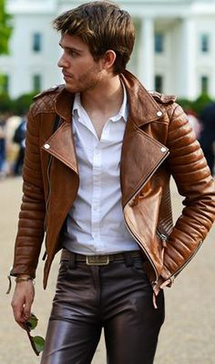 Leather jacket & jeans