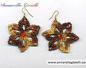 Crochet earrings #E178, brown, yellow,  flower, handmade, shimmer, golden, thread, cotton, modern style
