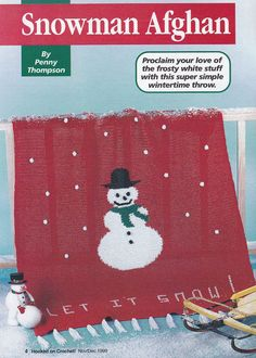 Christmas Afghan Crochet Patterns - Snowman or Snowflakes - Hooked on Crochet Magazine