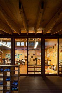Einosato Nursery School designed by Shogo Iwata. Love the shoe shelves, exposed structure, wood, sliding doors and clerestory windows.