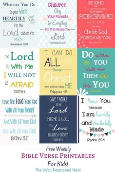 Every week The Well Nourished Nest posts another Bible Verse printable to use to teach your kids the word! Prayers and how to pray Bible Verses For Kids, Bible Scriptures, Bible Quotes, Kids Memory Verses, Scripture Cards, Printable Scripture, Scripture Memorization, Scripture Journal, Bible Study For Kids