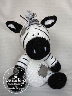Crochet Zebra like a Chip the Zebra. Blue Nose Friends. Crochet PDF pattern.