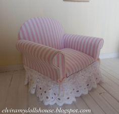 Nice Shabby Chic Armchair with cushions, Dollhouse Miniature, 1:12 Scale Dolls House. €30.00, via Etsy.