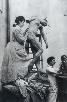 Camille Claudel in her workshop (1887). In 1884, a year after her first exhibiton she became a trainee under Rodin. Her roles would also include his assistant, muse, model and confidante. In 1885 Camille became an official collaborator of Rodin's and with her friend Jessie worked in his studio. During her time with Rodin she helped him complete such pieces as Burghers of Calais in 1895 and Gates of Hell, 1900.