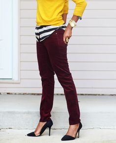 Oxblood Skinnies - Black & White Striped Blouse - Yellow Sweater - D'Orsay Pumps