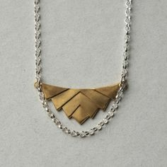 Brass Geometric Necklace Brass Chevron Pendant by juliegarland