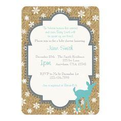 Baby Deer and Snowfake Burlap Baby Shower Invite