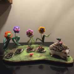 The family of hedgehogs are on the flower field. Each flower has its own emotion, seeing little hedgehogs that collect fruits and mushrooms with mother-hedgehog. The whole composition is made in the technique of dry felting. Fuzzy Felt, Baby Hedgehog, Soft Sculpture, Felt Animals, Needle Felting, Plush, Toys, Flowers, Plants