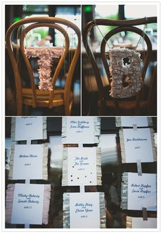 I potentially have time to make seating display like this, right? - Wedding Day Pins : You're Source for Wedding Pins! Wedding Pins, Wedding Day, Moss Letters, Mini Pinatas, Wedding Chairs, 80th Birthday, Name Cards, Event Decor, Have Time