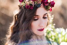 Fall Wedding Flower Crown Floral Halo  by OhDinaFlowerCrowns