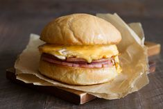Taylor Ham, Egg & Cheese Breakfast Sandwich — Cooking with Cocktail Rings Bacon Hot Dogs, Best Hangover Cure, Egg Burger, Best Breakfast Sandwich, Pork Roll, Recipe Collection, Clean Eating Snacks, Cocktail Rings, Cooking Time