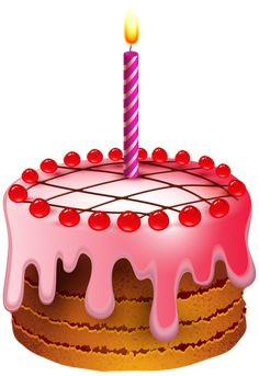 Birthday Cake With Candle Transparent Clip Art Image