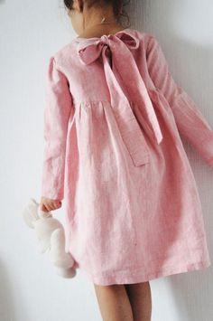 Girls Handmade Linen Dress | EmyAndPears on Etsy