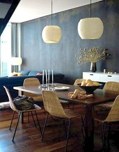 Summer style! Blue and wood dining table and living room! Scandinavian style - love the chairs!