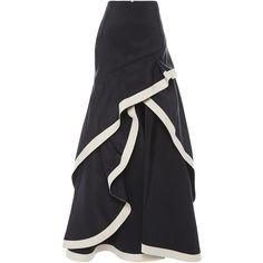 Johanna Ortiz Julio Verne Skirt ($1,393) ❤ liked on Polyvore featuring skirts, flounce skirt, drop waist skirt, a line skirt, flouncy skirt and knee length a line skirt