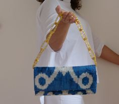 Blue china silk velvet ladies clutch purse hand by vquadroitaly