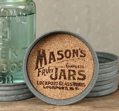 "3¾"" dia. and 1"" tall. Features cork inside to absorb moisture. Features a vintage Mason jars logo printed in waterproof ink. SET OF FOUR  Mason jar is not inclu"