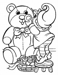 Cute Country Christmas Teddy Bear Coloring Page