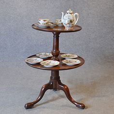 Antique Dumb Waiter Lamp Tea Table Server Display Buffet English Georgian c1780