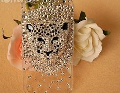 iPhone Hard Case Bling Crystal Leopard Head $31.99