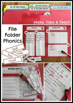 10 interactive file folder activities for phonics skills. Great for centers!