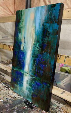 art abstrtait, tableau peinture abstraite dans la gamme bleue