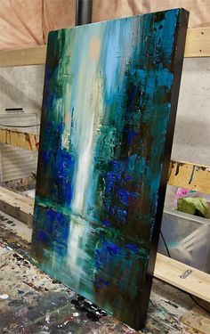 Art Abstrtait, Tableau Peinture Abstraite Dans La Gamme Bleue Techniques De  Peinture Abstraite, Peinture