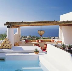 Modern House Design & Architecture : Salina home Tyrrhenian Sea view architect James Cavagnari interior design Exterior Design, Interior And Exterior, Outdoor Spaces, Outdoor Living, Outdoor Pool, House By The Sea, Dream Pools, Architectural Digest, Modern House Design