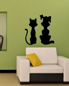 KITTEN AND PUPPY CAT DOG FUNNY ANIMAL  WALL VINYL STICKER  DECALS ART MURAL D154 #MuralArtDecals