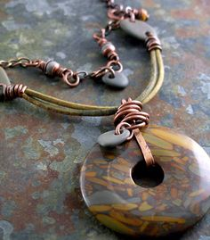 Golden Horse Jasper Donut Pendant with Gray Beach Stones, Leather and Antiqued Copper