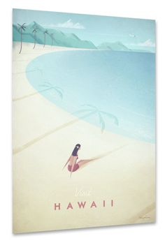 Vintage travel poster of Hawaii. Original contemporary illustration by Henry Rivers.