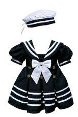 Infant Girl Navy Nautical Sailor Dress and Hat (This website has tons of sailor baby clothes, girl and boy! Baby Outfits, Kids Outfits, Baby Girl Fashion, Kids Fashion, Sailor Baby, Navy Sailor, Baptism Outfit, Sailor Dress, Baby Kids Clothes
