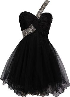 Sexy One Shoulder Homecoming Dress, Beaded Straps Black Prom Dress, Formal Gown…