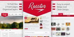 Rosster - Interactive PSD Theme by Trekend - A creativeREDtheme, strictly organized, very clean, eye caching and easy to work with it. - It fits to small businesses and pers