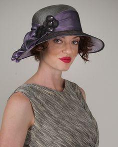 Helena, gunmetal/grape, parisisal hat with sinamany brim hat, jeweled appliqué…