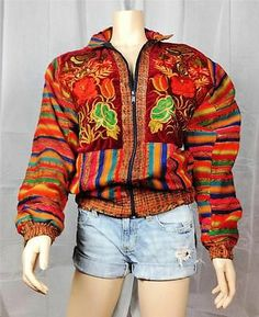$25 Vintage Retro 90's velvet woven ethnic embroidered colorful bomber jacket coat