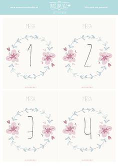 Imprimible de números de mesa para bodas (varios colores) >> Érase una vez Bodas y Eventos: Imprimible: números de mesa